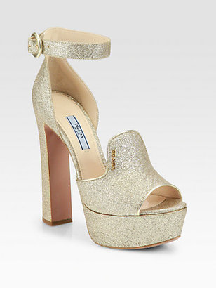 Prada Glitter Ankle Strap Platform Sandals