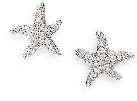Saks Fifth Avenue Diamond & 14K White Gold Starfish Earrings