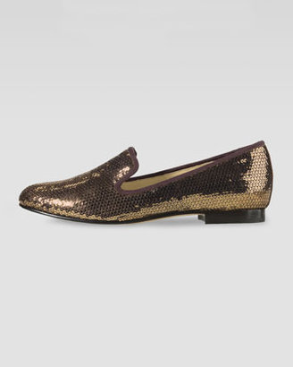 Cole Haan Sabrina Sequin Smoking Slipper, Bronze