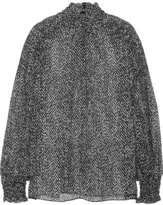 Michael Kors Smocked printed silk-chiffon top