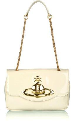 Vivienne Westwood Cream Patent Orb Shoulder Bag