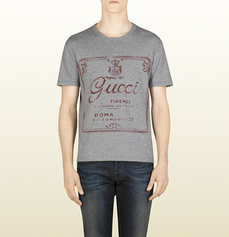 Gucci Light Grey Printed Cotton Jersey T-Shirt