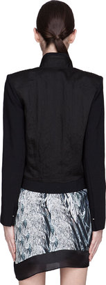 Helmut Lang Black Puckered Satin Blazer