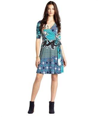 Donna Morgan teal and cobalt jadiete patterned three quarter sleeve self tie dress