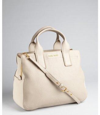 Miu Miu Miu grey and ivory leather colorblock convertible satchel