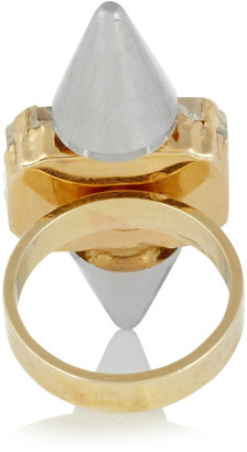 Noir Highlight gold-plated crystal ring