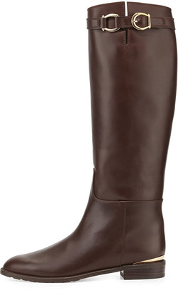 Stuart Weitzman Bronco Leather Riding Boot, Walnut