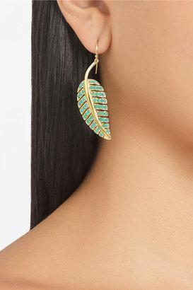 Jennifer Meyer 18-karat gold turquoise leaf earrings
