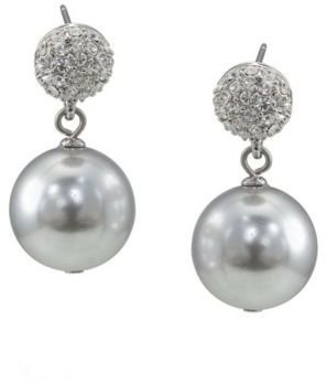 Carolee The Kim Charcoal Crystal & Faux Pearl Drop Earrings