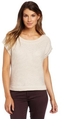 Lilla P Women's Cotton Blend Cropped Tuck Stitch Dolman Sweater