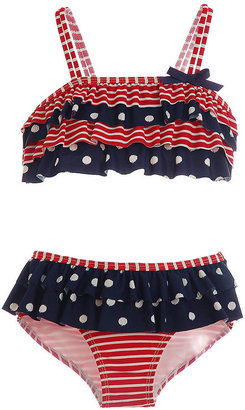 Hartstrings Girls 2-6x Polka Dot & Striped Two-Piece Skirted Bathing Suit