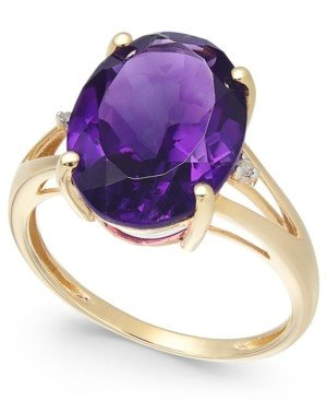 Macy's Amethyst (5 ct. t.w.) and Diamond Accent Oval Ring in 14k Gold (Also Available in Mystic Topaz, Blue Topaz, & Prasolite)