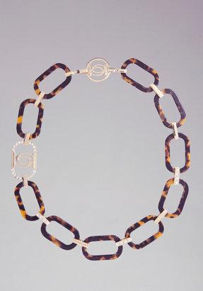 Bebe Logo Tortoise Link Necklace