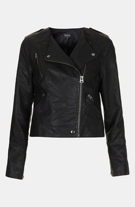Topshop 'Mirabelle' Faux Leather Biker Jacket