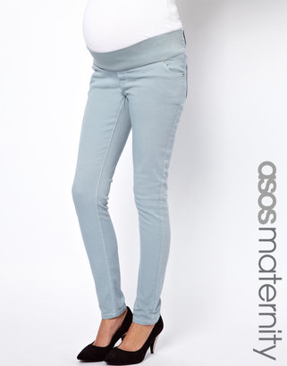 Elgin ASOS Maternity Jeans With Stretch Waistband in Pastel Blue