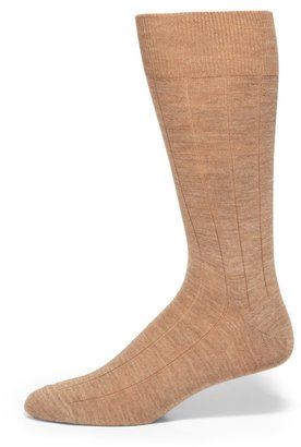 Saks Fifth Avenue Made In Italy Wide Ribbed Merino Wool Dress Socks