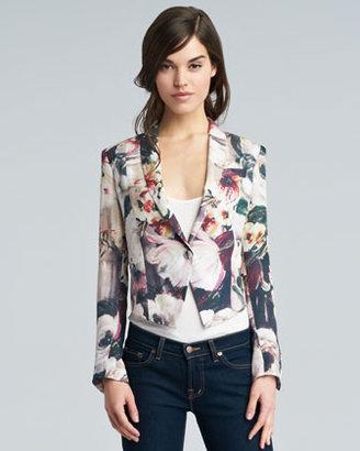 Haute Hippie Floral-Print Silk Cropped Blazer