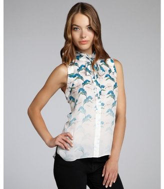Rebecca Minkoff chalk ombre floral print silk crepe 'Couric' button down blouse
