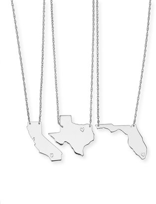 Moon and Lola Personalized State Pendant Necklace, Silver, Alabama-Mississippi