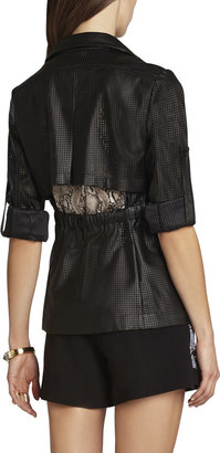 BCBGMAXAZRIA Bronnen Perforated Open-Back Jacket