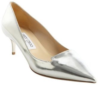 Jimmy Choo silver leather pointed toe 'Allure' pumps