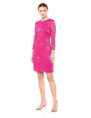Nine West Women's 3/4 Sleeve Lace Shift Dress