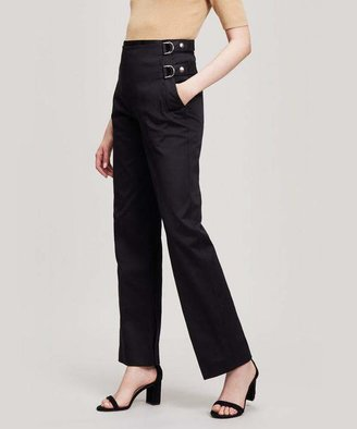 Helmut Lang Buckled Wide-Leg Trousers