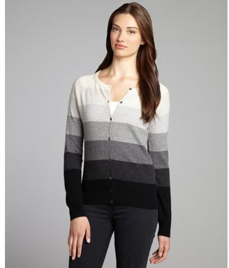 Autumn Cashmere grey and black cashmere striped elbow patch cardigan
