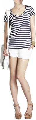 BCBGMAXAZRIA Riley Striped Short-Sleeve Top
