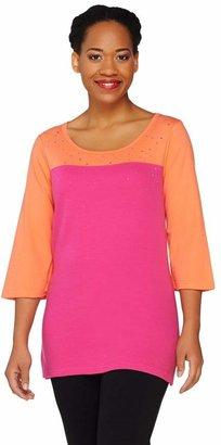 Factory Quacker Sparkle & Shine Color-Block 3/4 Sleeve T-shirt