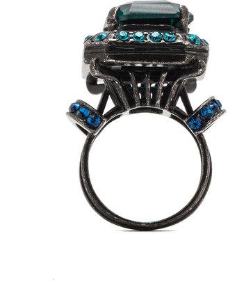 Lanvin Antique Plated Ring in Vert Emeraud