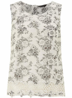 Dorothy Perkins Ivory and grey floral shell top