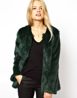 Asos Collarless Longline Faux Fur Coat