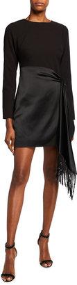 LIKELY Yoko Long-Sleeve Combo Dress with Fringe
