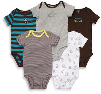 Carter's Short Sleeve 5-Pack Brown-Turquoise Bodysuits