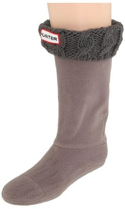 Hunter Cable Cuff Welly Sock (Toddler/Little Kid/Big Kid) (Charcoal) - Footwear