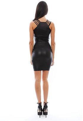Donna Mizani Leatherette Multi Strap Dress in Black