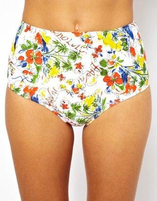 LBR Swim Honolulu Print Deep Hipster Bikini Bottom - Multi