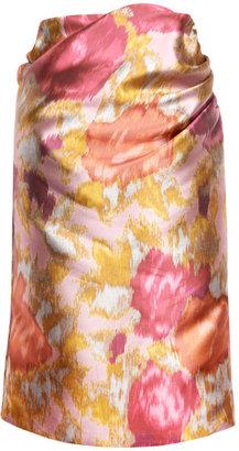 Michael Van Der Ham Preorder Pink Floral Satin Twill Draped Skirt