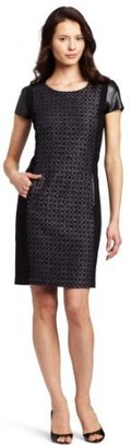 DKNY DKNYC Women's Short Sleeve Dress with Faux Leather Piecing