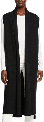 Eileen Fisher Boiled Wool Shawl Collar Vest