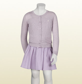 Gucci Lilac And Silver Shine Cotton Long Sleeve Cardigan