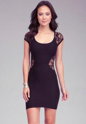 Bebe Contour Lace Inset Dress