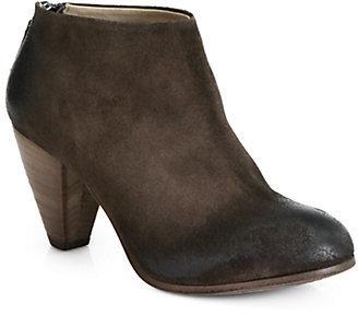 Elisanero Distressed Suede Zip-Up Ankle Boots