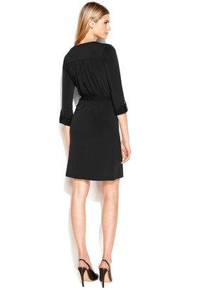 MICHAEL Michael Kors Lace-Up Belted Shirtdress