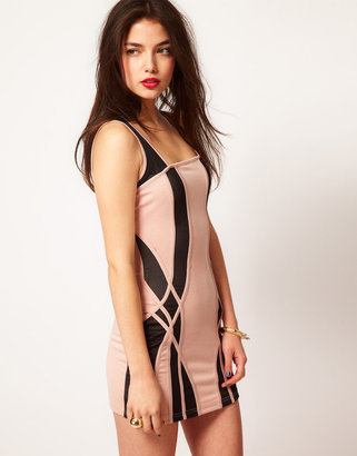 House of Dereon Panelled Dress With Mesh