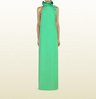 Gucci Jasmine Green Silk Gown With Flounce Neckline