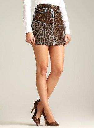 Dolce & Gabbana Short Animal Print Denim Skirt