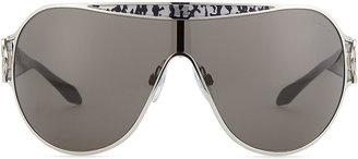 Roberto Cavalli Shield Logo-Temple Sunglasses, Palladium