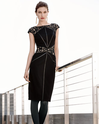 Tadashi Shoji Lace Yoke & Waist Cocktail Dress, Black